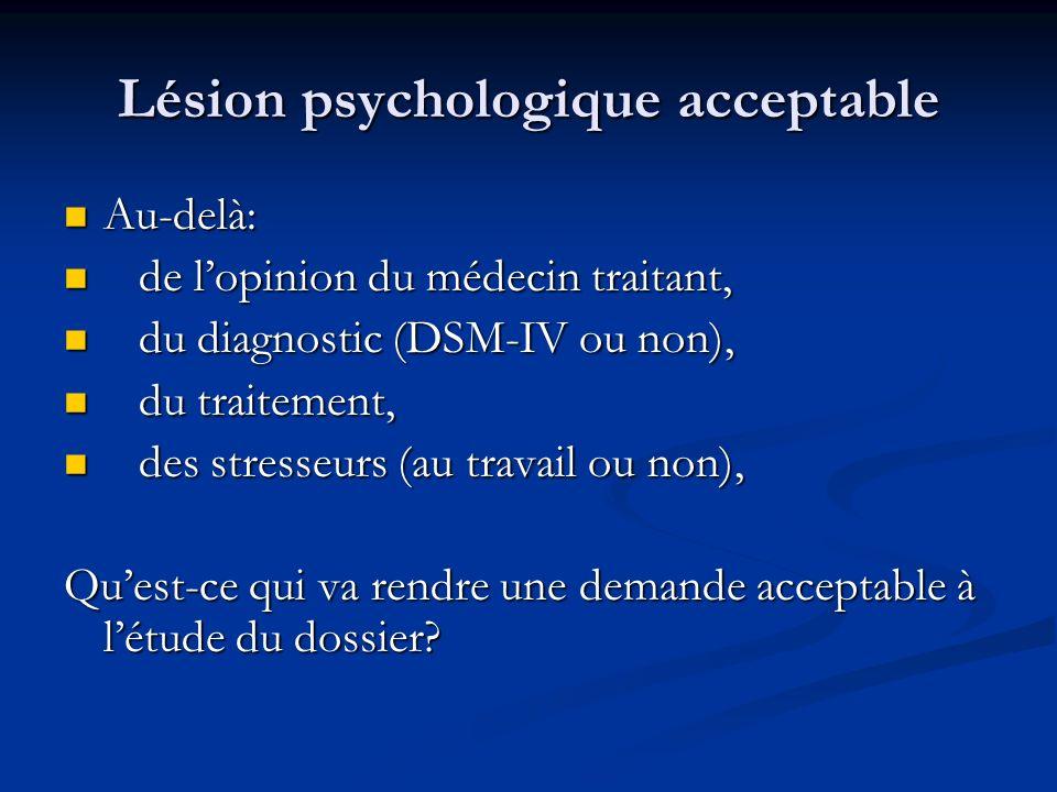 Lésion psychologique acceptable Au-delà: Au-delà: de lopinion du médecin traitant, de lopinion du médecin traitant, du diagnostic (DSM-IV ou non), du