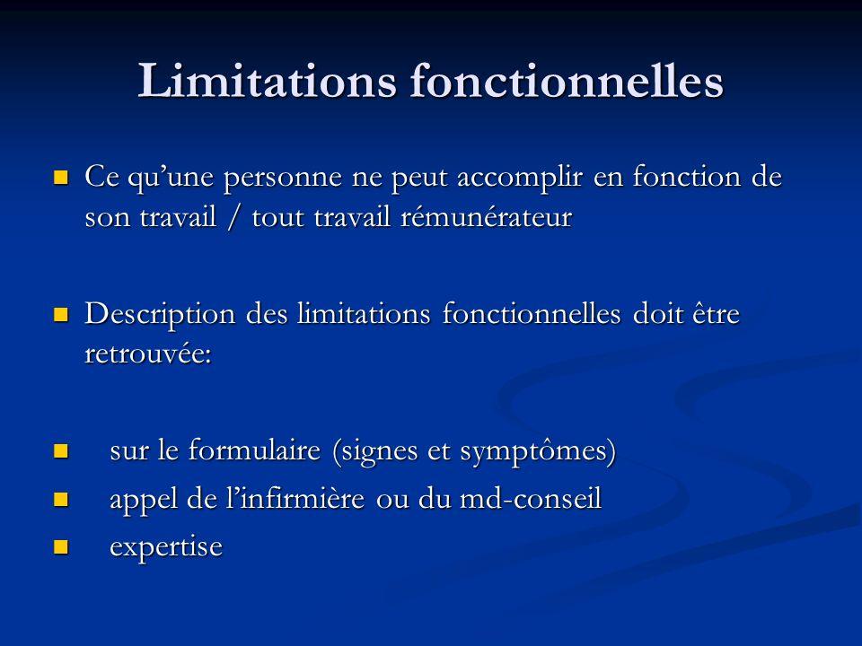 Limitations fonctionnelles Ce quune personne ne peut accomplir en fonction de son travail / tout travail rémunérateur Ce quune personne ne peut accomp
