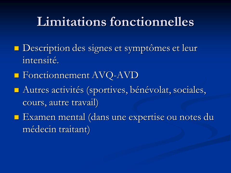 Limitations fonctionnelles Description des signes et symptômes et leur intensité. Description des signes et symptômes et leur intensité. Fonctionnemen