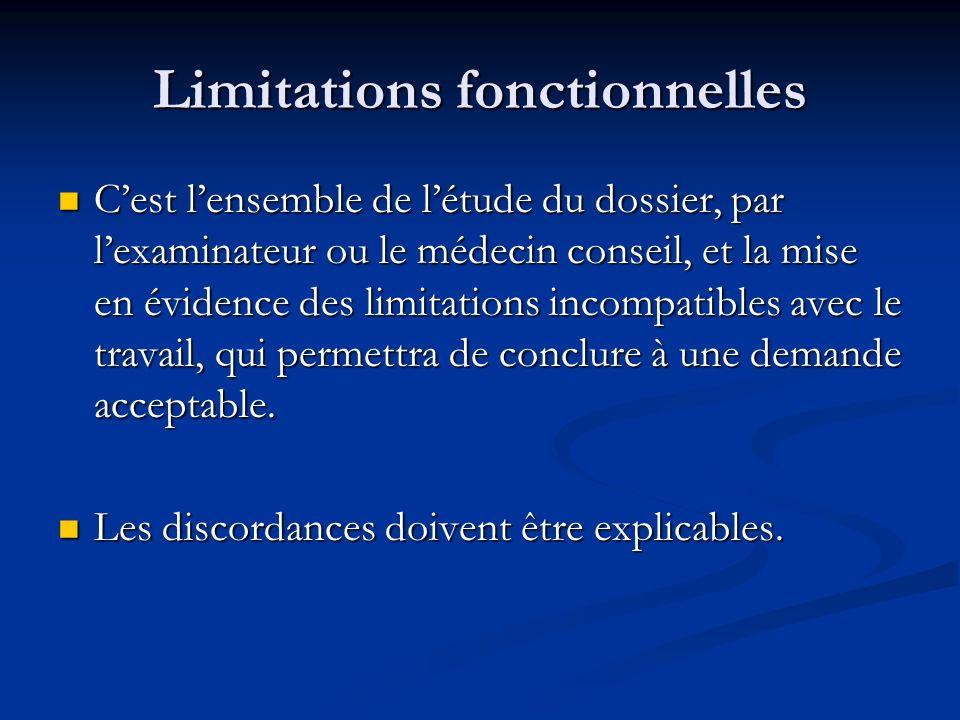 Limitations fonctionnelles Cest lensemble de létude du dossier, par lexaminateur ou le médecin conseil, et la mise en évidence des limitations incompa