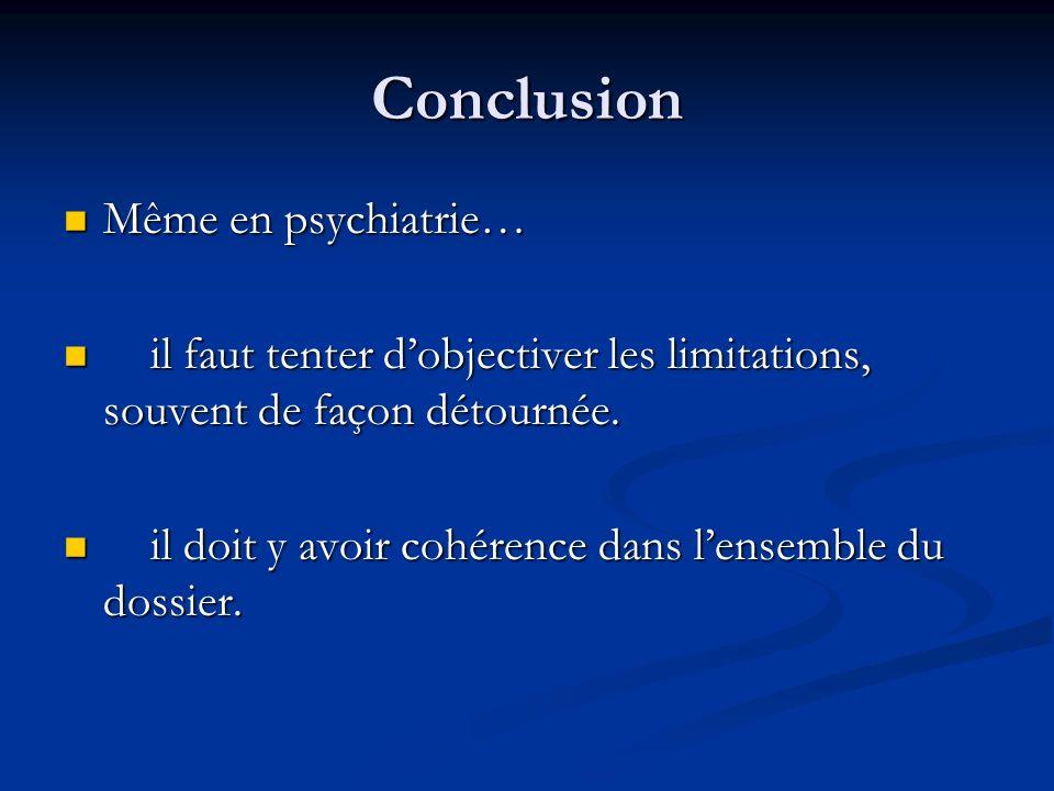 Conclusion Même en psychiatrie… Même en psychiatrie… il faut tenter dobjectiver les limitations, souvent de façon détournée. il faut tenter dobjective