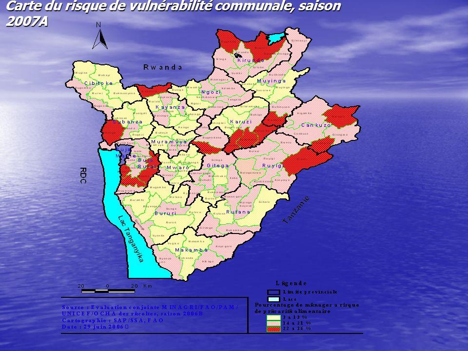 Carte du risque de vulnérabilité communale, saison 2007A