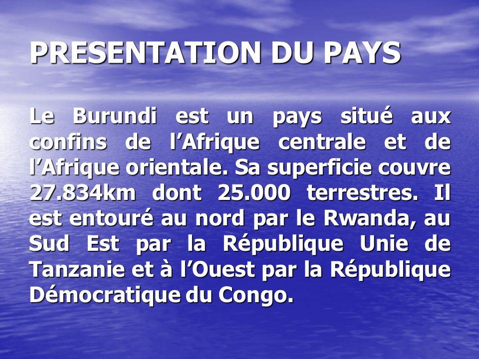 PRESENTATION DU PAYS Le Burundi est un pays situé aux confins de lAfrique centrale et de lAfrique orientale. Sa superficie couvre 27.834km dont 25.000