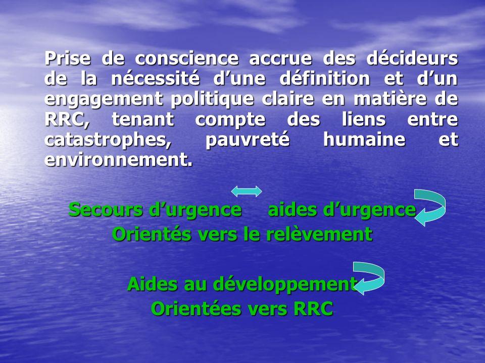 Prise de conscience accrue des décideurs de la nécessité dune définition et dun engagement politique claire en matière de RRC, tenant compte des liens entre catastrophes, pauvreté humaine et environnement.