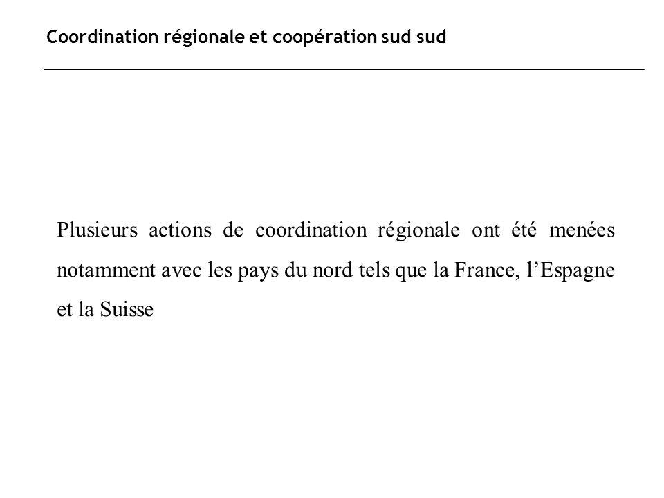 Coordination régionale et coopération sud sud Plusieurs actions de coordination régionale ont été menées notamment avec les pays du nord tels que la F