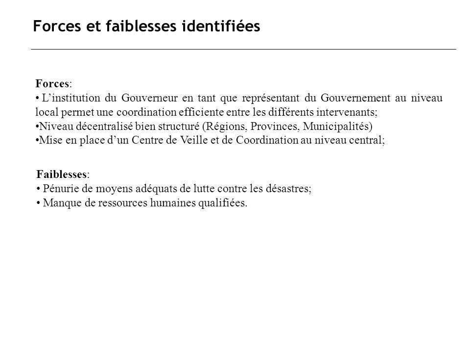 Forces et faiblesses identifiées Forces: Linstitution du Gouverneur en tant que représentant du Gouvernement au niveau local permet une coordination e