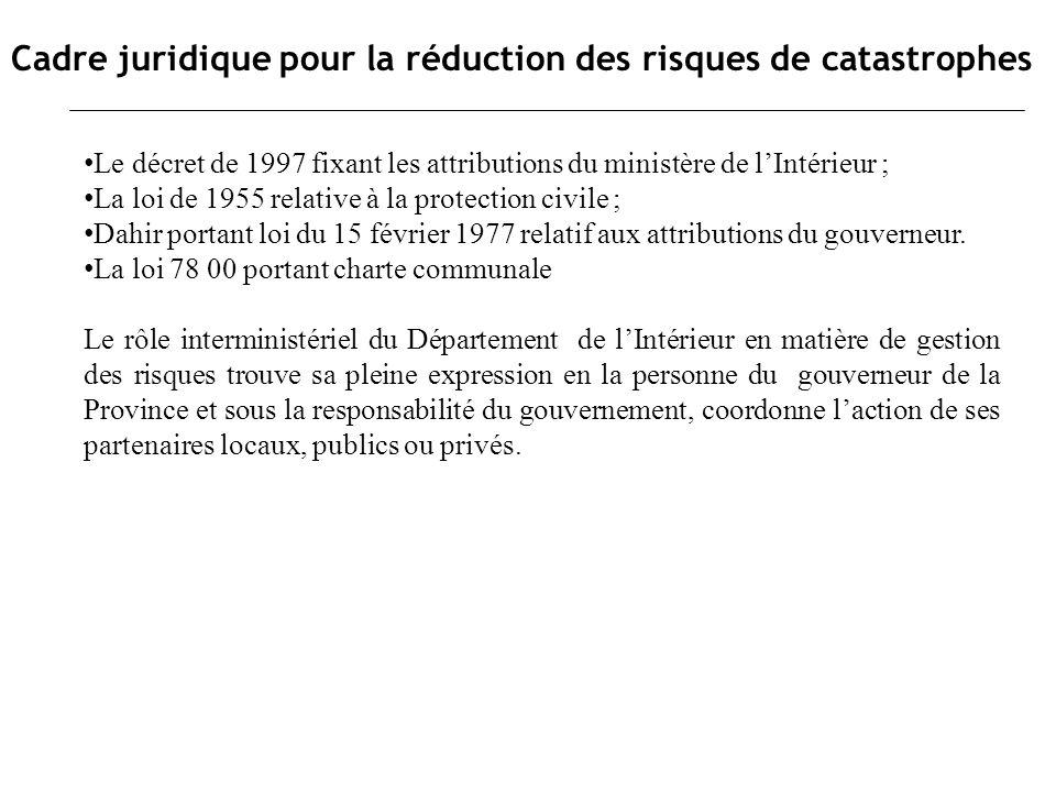 Cadre juridique pour la réduction des risques de catastrophes Le décret de 1997 fixant les attributions du ministère de lIntérieur ; La loi de 1955 re