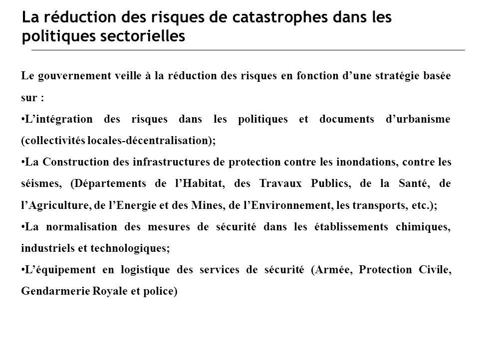 La réduction des risques de catastrophes dans les politiques sectorielles Le gouvernement veille à la réduction des risques en fonction dune stratégie