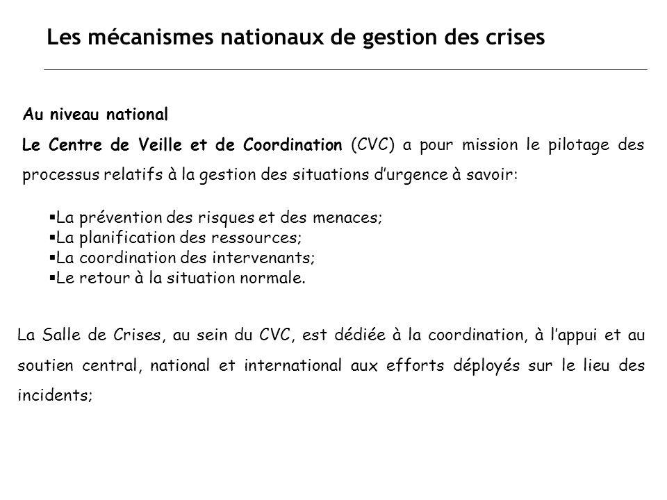 Les mécanismes nationaux de gestion des crises Au niveau national Le Centre de Veille et de Coordination (CVC) a pour mission le pilotage des processu