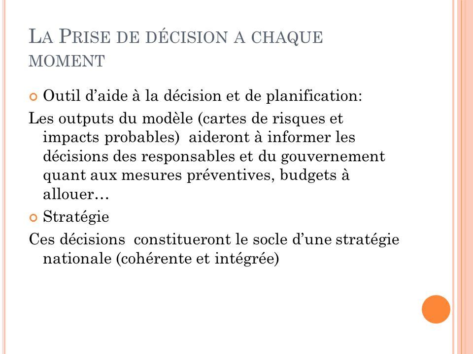 L A P RISE DE DÉCISION A CHAQUE MOMENT Outil daide à la décision et de planification: Les outputs du modèle (cartes de risques et impacts probables) a