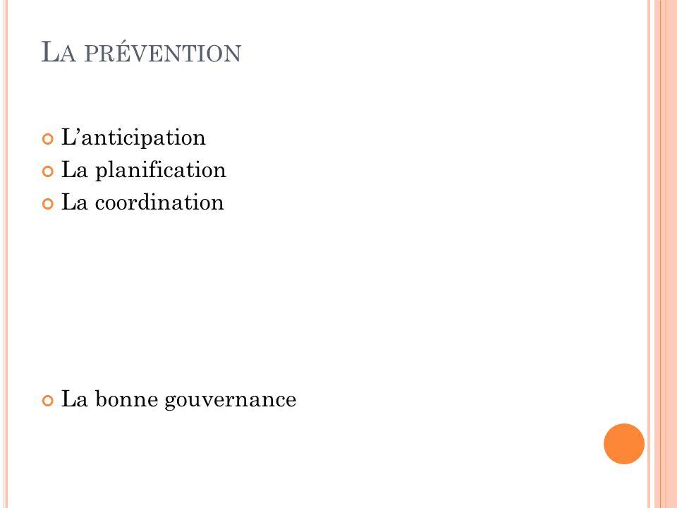 L A PRÉVENTION Lanticipation La planification La coordination La bonne gouvernance