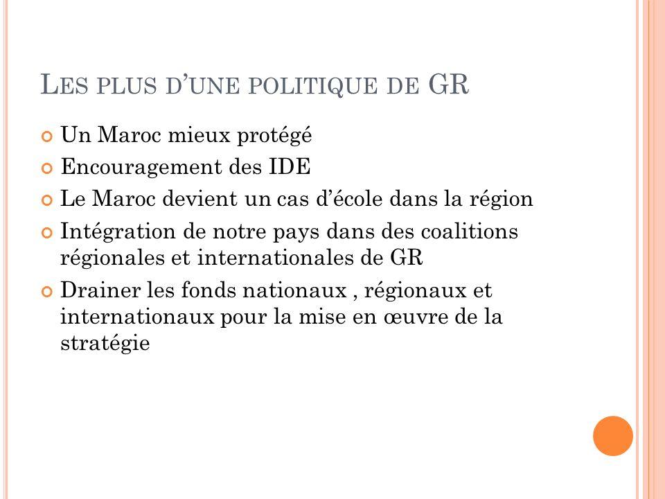 L ES PLUS D UNE POLITIQUE DE GR Un Maroc mieux protégé Encouragement des IDE Le Maroc devient un cas décole dans la région Intégration de notre pays dans des coalitions régionales et internationales de GR Drainer les fonds nationaux, régionaux et internationaux pour la mise en œuvre de la stratégie