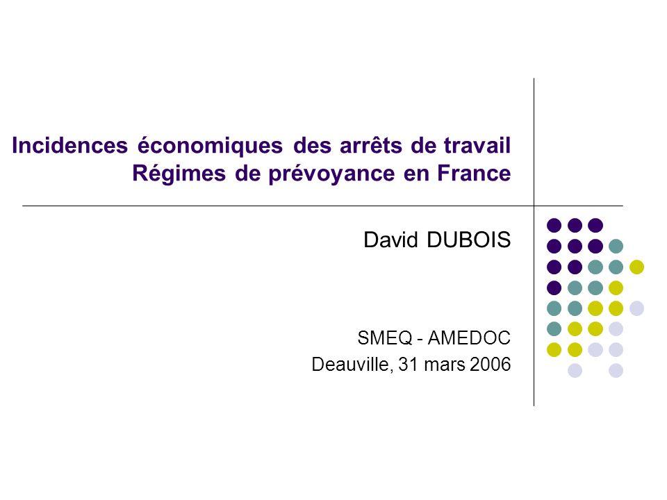 Incidences économiques des arrêts de travail Régimes de prévoyance en France David DUBOIS SMEQ - AMEDOC Deauville, 31 mars 2006