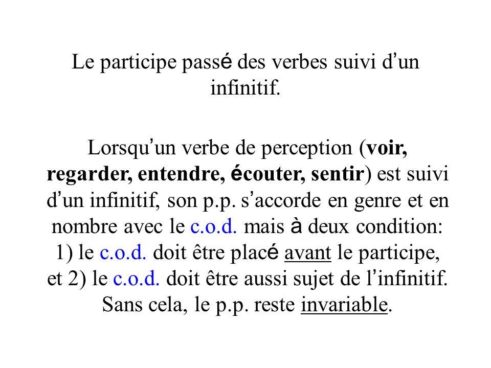 Le participe pass é des verbes suivi d un infinitif. Lorsqu un verbe de perception (voir, regarder, entendre, é couter, sentir) est suivi d un infinit