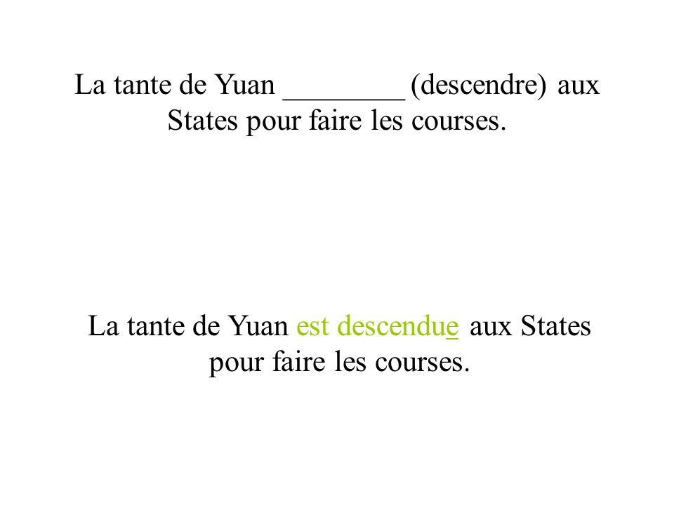 La tante de Yuan ________ (descendre) aux States pour faire les courses. La tante de Yuan est descendue aux States pour faire les courses.
