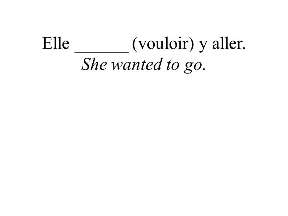 Elle ______ (vouloir) y aller. She wanted to go.
