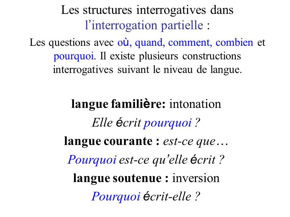 Les structures interrogatives dans l interrogation partielle : Les questions avec o ù, quand, comment, combien et pourquoi. Il existe plusieurs constr