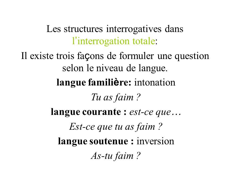 Les structures interrogatives dans l interrogation totale: Il existe trois fa ç ons de formuler une question selon le niveau de langue. langue famili