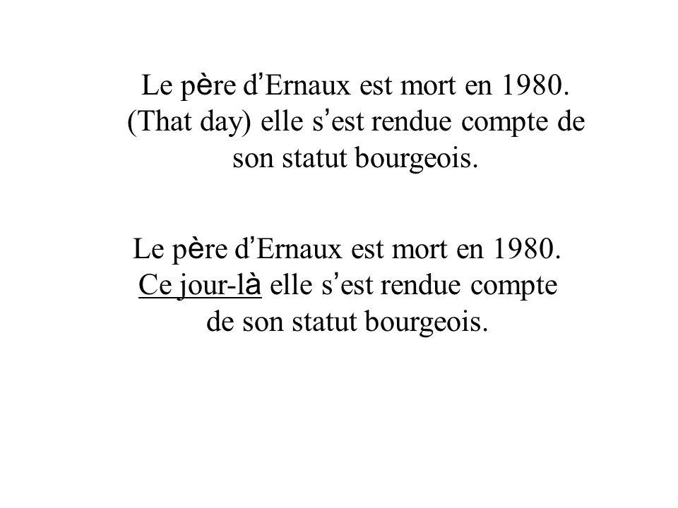 Le p è re d Ernaux est mort en 1980. Ce jour-l à elle s est rendue compte de son statut bourgeois.