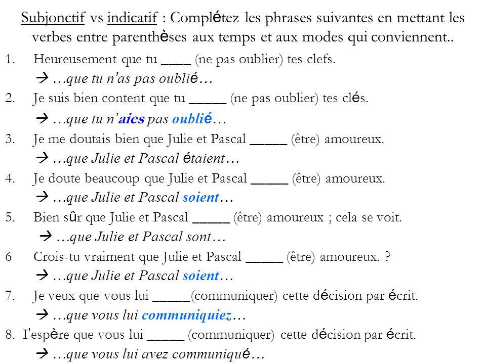 Subjonctif vs indicatif : Compl é tez les phrases suivantes en mettant les verbes entre parenth è ses aux temps et aux modes qui conviennent..