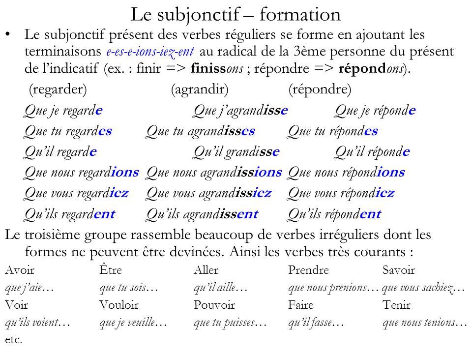 Le subjonctif – formation Le subjonctif présent des verbes réguliers se forme en ajoutant les terminaisons e-es-e-ions-iez-ent au radical de la 3ème p