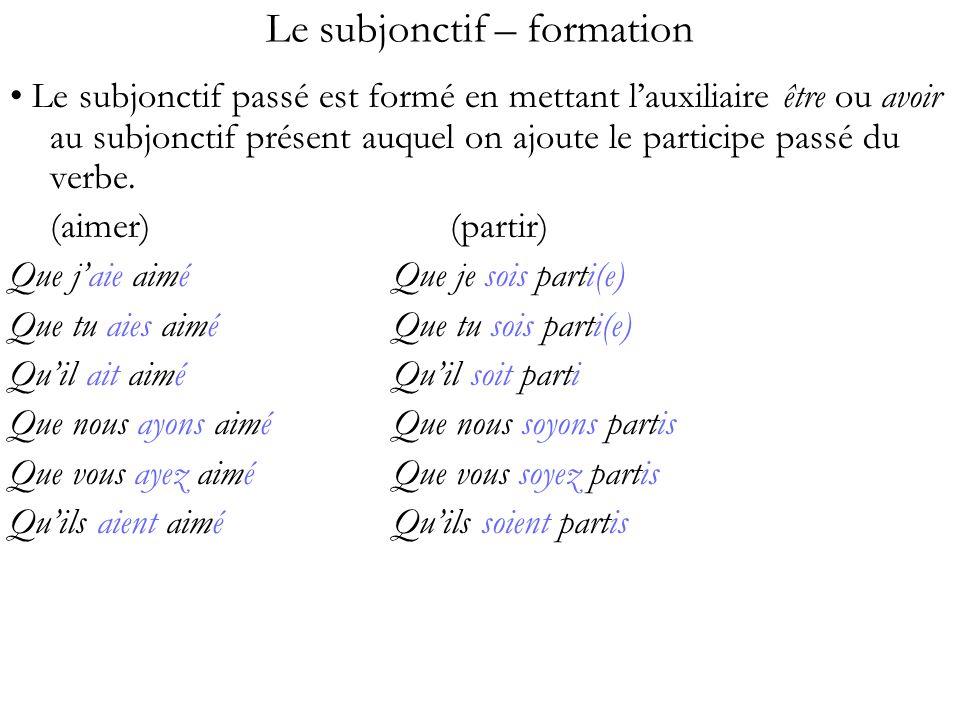 Le subjonctif – formation Le subjonctif passé est formé en mettant lauxiliaire être ou avoir au subjonctif présent auquel on ajoute le participe passé