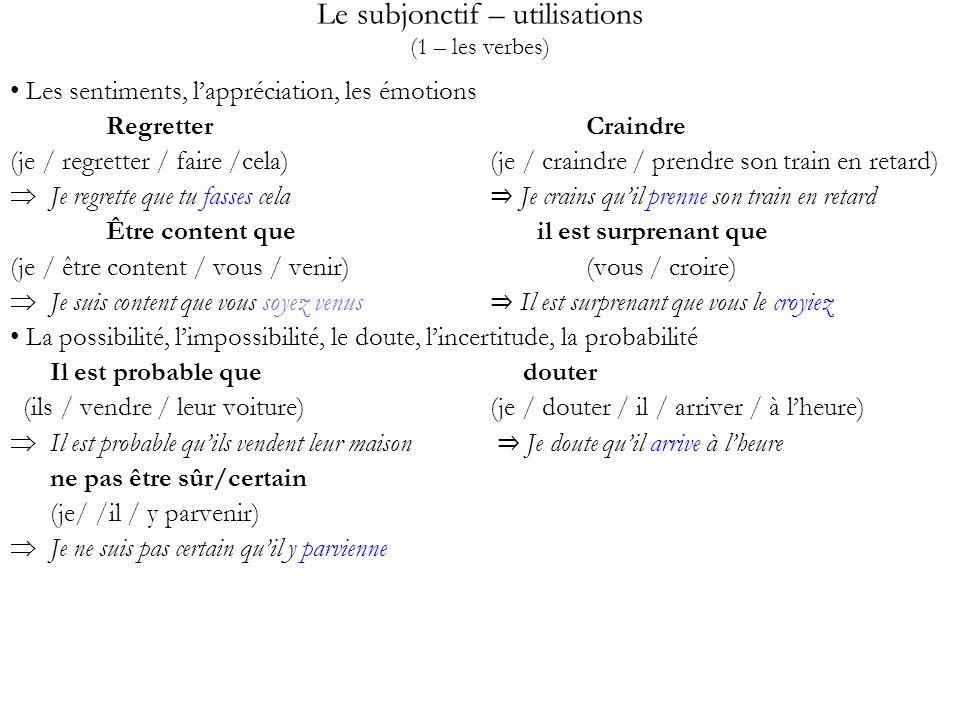 Le subjonctif – utilisations (1 – les verbes) Les sentiments, lappréciation, les émotions RegretterCraindre (je / regretter / faire /cela)(je / craind