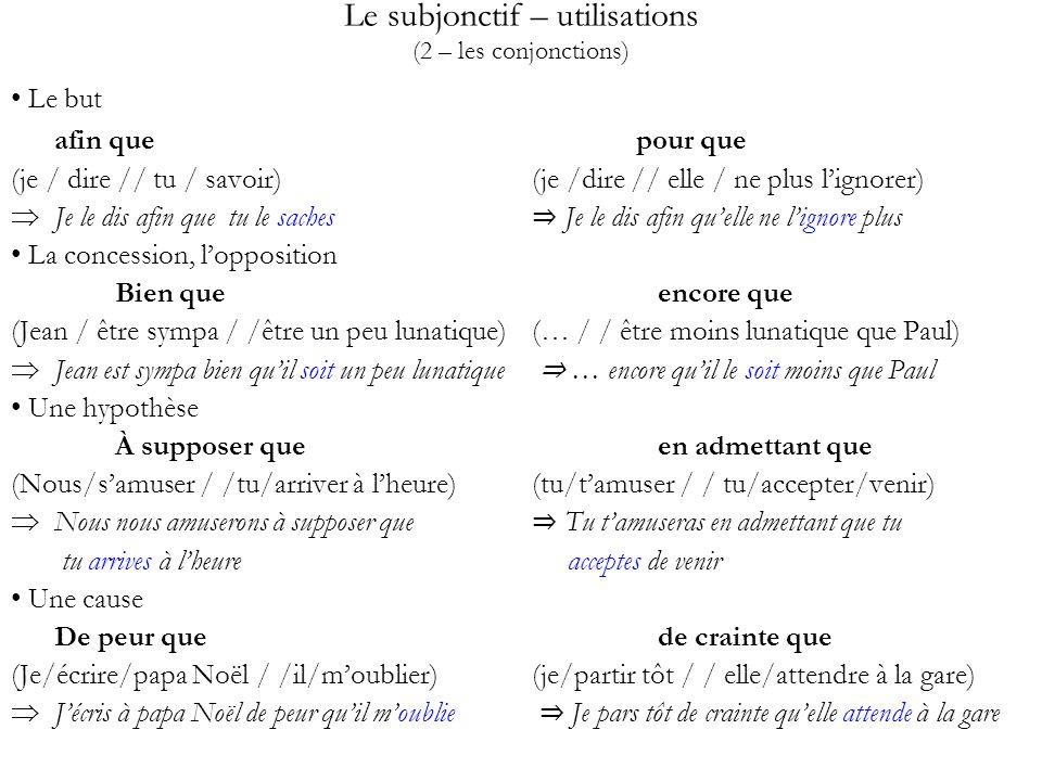 Le subjonctif – utilisations (2 – les conjonctions) Le but afin que pour que (je / dire // tu / savoir) (je /dire // elle / ne plus lignorer) Je le di