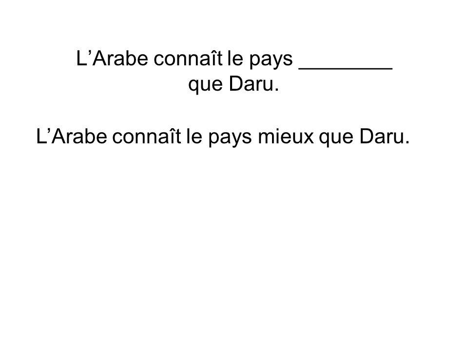 LArabe connaît le pays ________ que Daru. LArabe connaît le pays mieux que Daru.