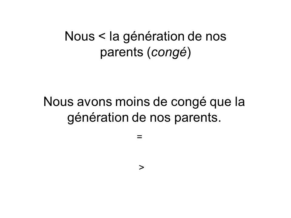 Nous < la génération de nos parents (congé) Nous avons moins de congé que la génération de nos parents. = >