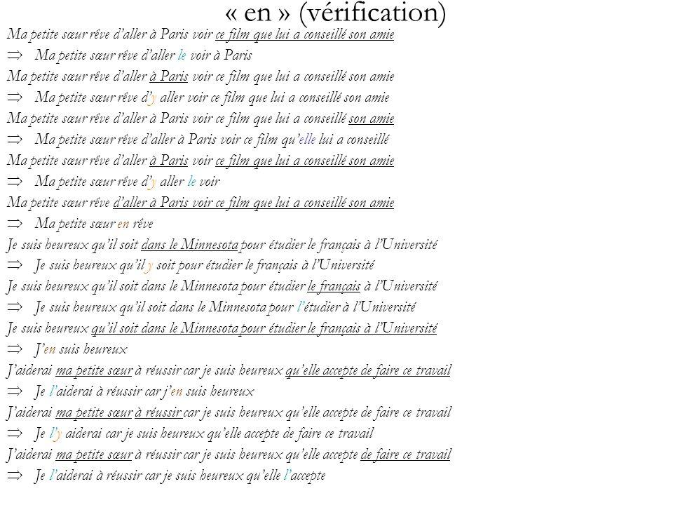 « en » (vérification) Ma petite sœur rêve daller à Paris voir ce film que lui a conseillé son amie Ma petite sœur rêve daller le voir à Paris Ma petit