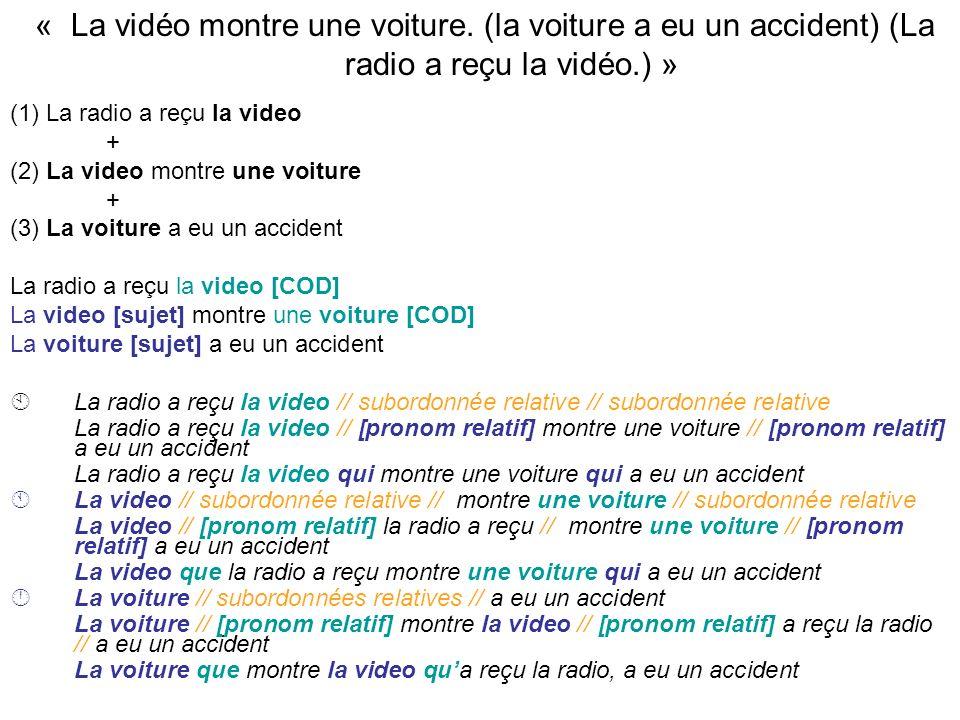 « La vidéo montre une voiture. (la voiture a eu un accident) (La radio a reçu la vidéo.) » (1) La radio a reçu la video + (2) La video montre une voit