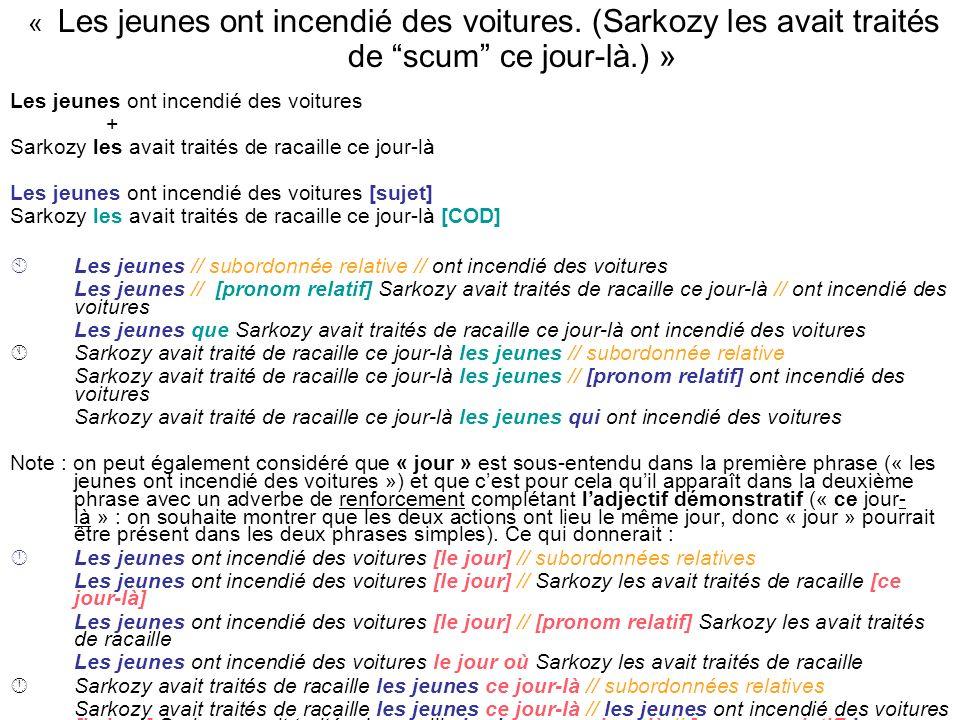 « Les jeunes ont incendié des voitures. (Sarkozy les avait traités de scum ce jour-là.) » Les jeunes ont incendié des voitures + Sarkozy les avait tra