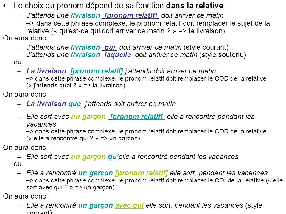 Le choix du pronom dépend de sa fonction dans la relative. –Jattends une livraison [pronom relatif] doit arriver ce matin –> dans cette phrase complex
