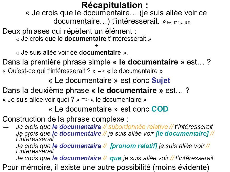 Récapitulation : « Je crois que le documentaire… (je suis allée voir ce documentaire…) tintéresserait. » [ex. 17-1 p. 181] Deux phrases qui répètent u
