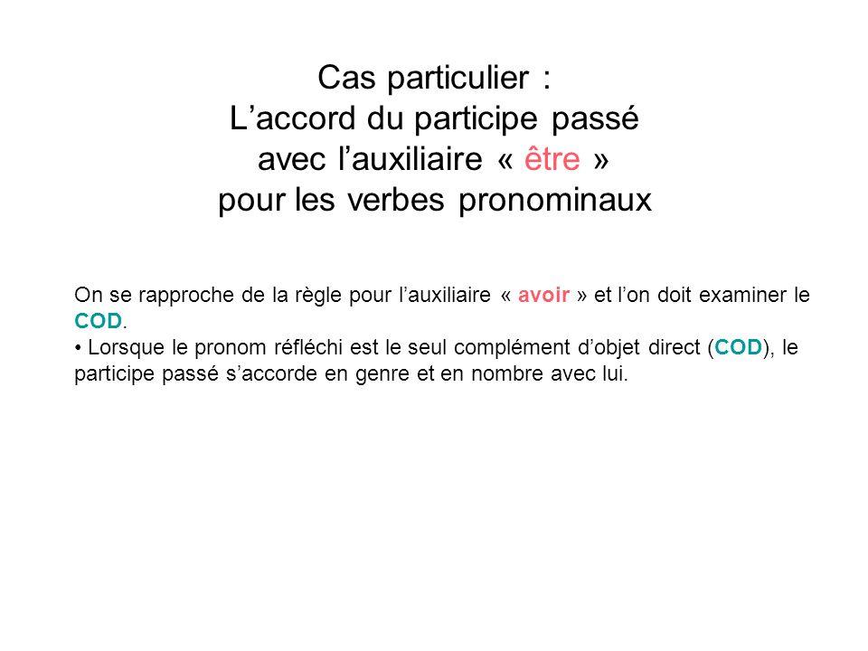 Cas particulier : Laccord du participe passé avec lauxiliaire « être » pour les verbes pronominaux On se rapproche de la règle pour lauxiliaire « avoi
