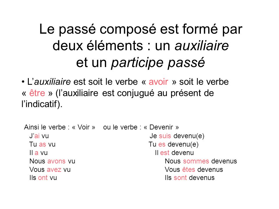 Le passé composé est formé par deux éléments : un auxiliaire et un participe passé Lauxiliaire est soit le verbe « avoir » soit le verbe « être » (lau