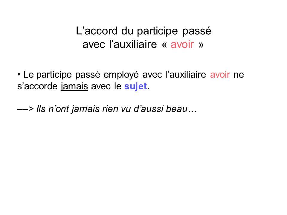 Cas particulier : Laccord du participe passé avec lauxiliaire « être » pour les verbes pronominaux On se rapproche de la règle pour lauxiliaire « avoir » et lon doit examiner le COD.
