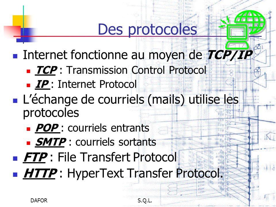 DAFORS.Q.L. Des protocoles Internet fonctionne au moyen de TCP/IP TCP : Transmission Control Protocol IP : Internet Protocol Léchange de courriels (ma