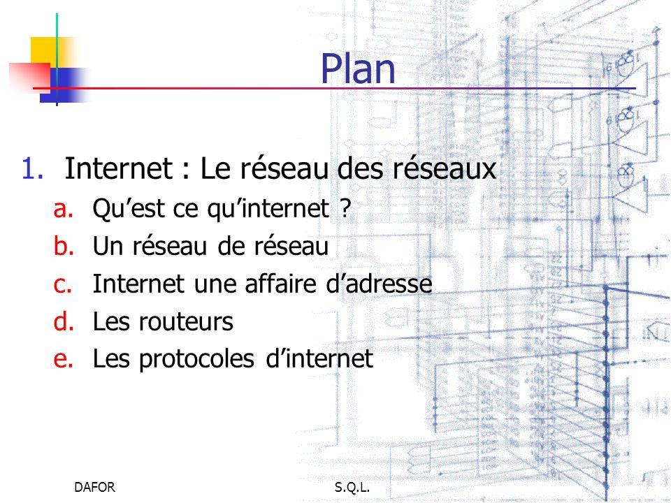 DAFORS.Q.L. Plan 1.Internet : Le réseau des réseaux a.Quest ce quinternet ? b.Un réseau de réseau c.Internet une affaire dadresse d.Les routeurs e.Les