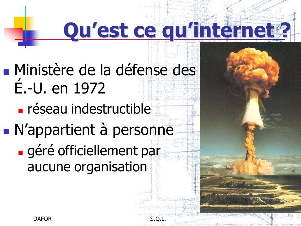 DAFORS.Q.L. Quest ce quinternet ? Ministère de la défense des É.-U. en 1972 réseau indestructible Nappartient à personne géré officiellement par aucun