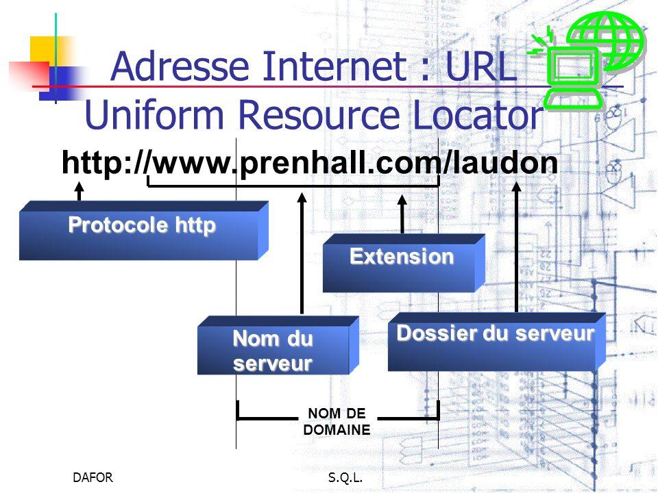 DAFORS.Q.L. Adresse Internet : URL Uniform Resource Locator http://www.prenhall.com/laudon Protocole http Protocole http Dossier du serveur Extension
