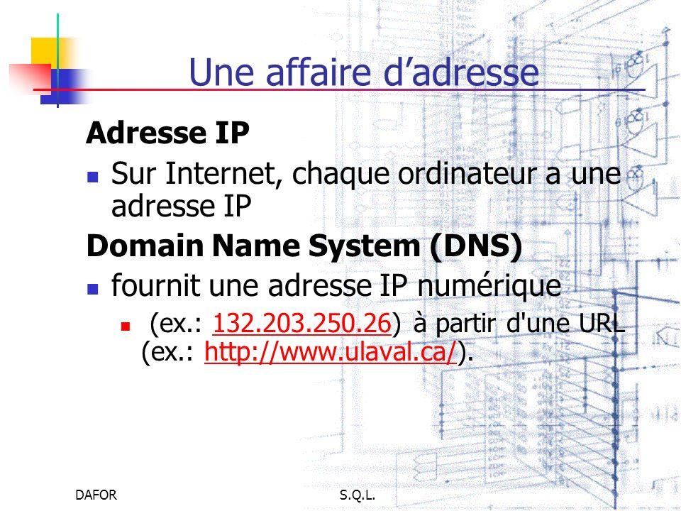 DAFORS.Q.L. Une affaire dadresse Adresse IP Sur Internet, chaque ordinateur a une adresse IP Domain Name System (DNS) fournit une adresse IP numérique