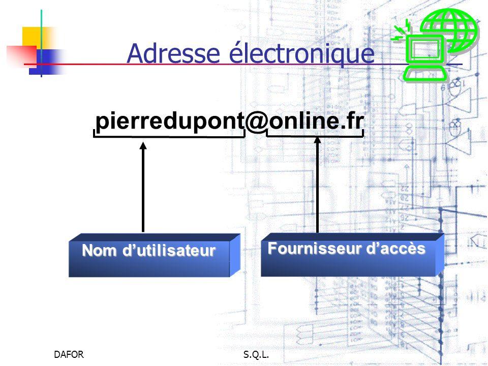 DAFORS.Q.L. Adresse électronique pierredupont@online.fr Fournisseur daccès Nom dutilisateur