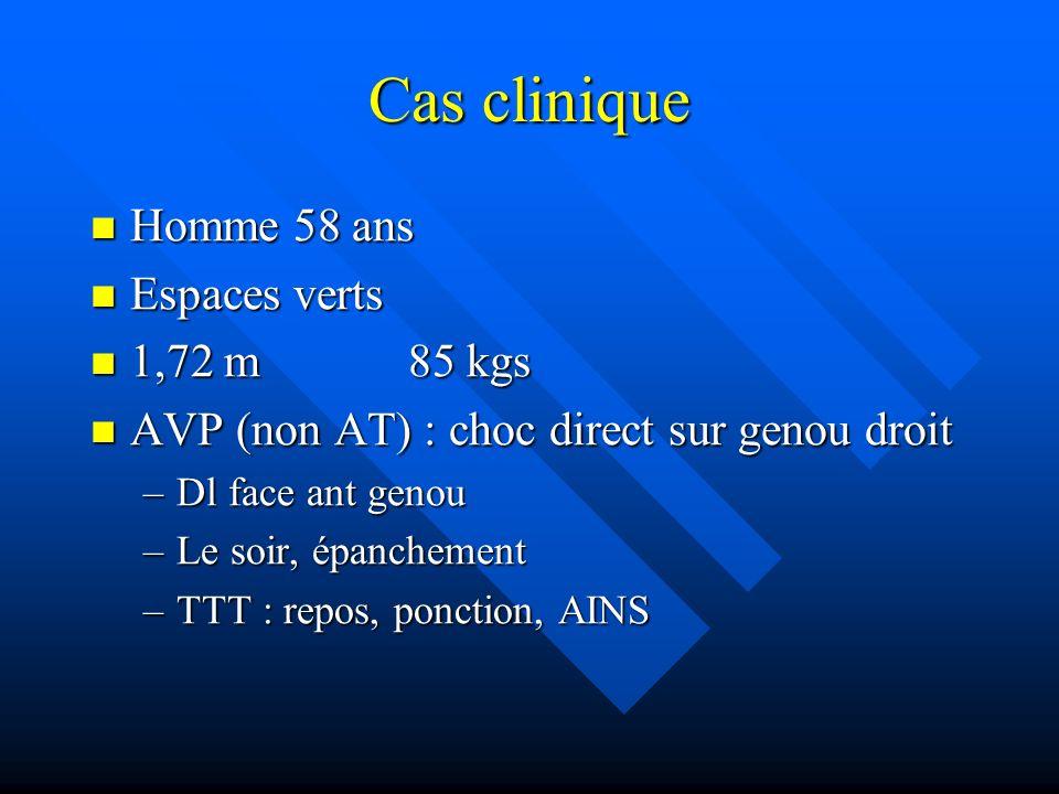 Cas clinique Homme 58 ans Homme 58 ans Espaces verts Espaces verts 1,72 m85 kgs 1,72 m85 kgs AVP (non AT) : choc direct sur genou droit AVP (non AT) :