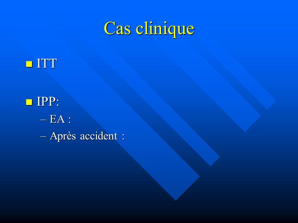 Cas clinique ITT ITT IPP: IPP: –EA : –Après accident :