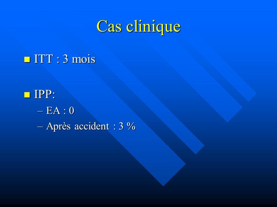 Cas clinique ITT : 3 mois ITT : 3 mois IPP: IPP: –EA : 0 –Après accident : 3 %