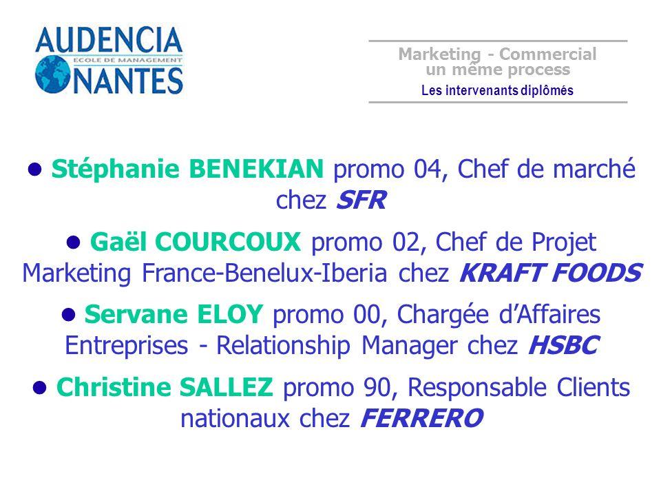 Stéphanie BENEKIAN promo 04, Chef de marché chez SFR Gaël COURCOUX promo 02, Chef de Projet Marketing France-Benelux-Iberia chez KRAFT FOODS Servane E