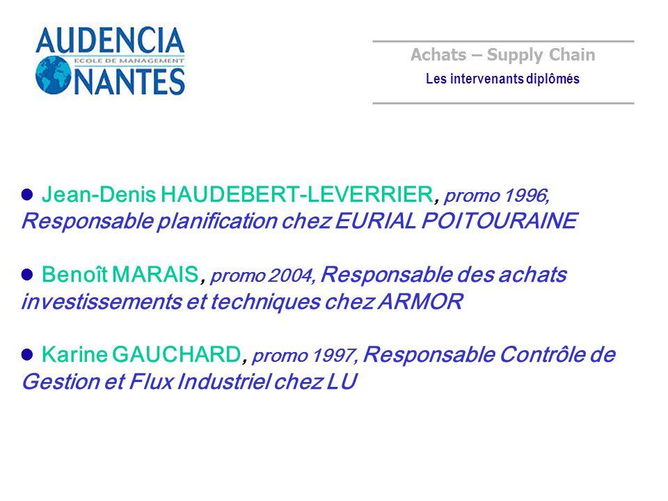 Achats – Supply Chain Les intervenants diplômés Jean-Denis HAUDEBERT-LEVERRIER, promo 1996, Responsable planification chez EURIAL POITOURAINE Benoît MARAIS, promo 2004, Responsable des achats investissements et techniques chez ARMOR Karine GAUCHARD, promo 1997, Responsable Contrôle de Gestion et Flux Industriel chez LU