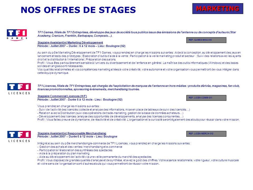 NOS OFFRES DE STAGES MARKETING TF1 Games, filiale de TF1 Entreprises, développe des jeux de société tous publics issus des émissions de lantenne ou de concepts dauteurs (Star Academy, Cranium, Franklin, Barbapapa, Composio…).